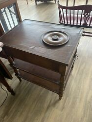 Vintage Table With Copper Lined Planter And Leather Top