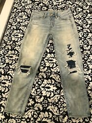 AMERICAN EAGLE HI RISE JEGGING Crop Distressed Patched Jeans Women's Size 4