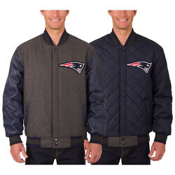 New England Patriots Wool And Leather Reversible Jacket With 2 Embroidered Logos