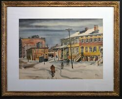 A Great Emil Ganso Original Painting, The City In Winter, Signed L.r., Framed.