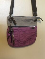 FOSSIL Key-Per Rear Purple Quilted With Key Crossbody Purse