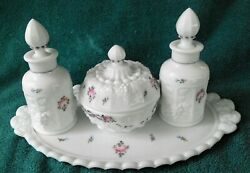 Westmoreland And039paneled Grape With Roses And Bowsand039 Dresser Set - Milk Glass