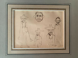 Robert Henri 1865-1929 Caricature Pen And Ink Recto/verso Old Master Drawing