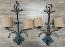 Wilderness Lodge Style , Metal Wall Mount Light Fixtures Sconces Pair 2