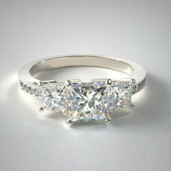 1.27 Carat Real Diamond Trilogy Beautiful Ring Solid 14k White Gold Size 5 6 7 8