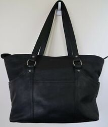 Lucky Brand Black Cowhide Leather Large Black Hobo Purse