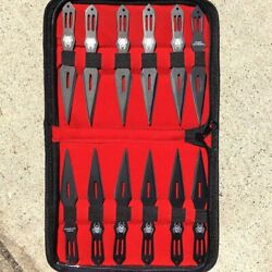 Set Of 12 Black 5.5 Throwing Knives With Carrying Case