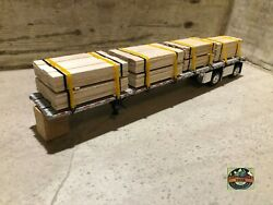 Custom Dcp Spread Axle Flatbed Trailer With Fence Wood Loads 1/64