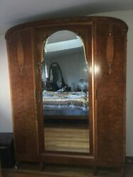Gorgeous French Antique 7 1/2and039 Tall Wood Dresser Armour With Mirror 19th Century