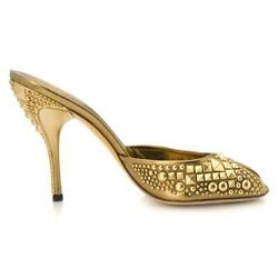 New Tom Ford For Studded Gold Bronze Runway Heels Shoes Mules 9 B