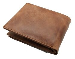 Brown Handcrafted Cowhide Leather Men's Bifold Premium Wallet Gift Box $15.95