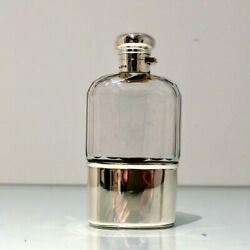 20th Century Antique George V Sterling Silver And Glass Hip Flask London 1914/1916