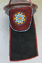 Hand Made Native American Leather Braided Beaded Seed Medicine Bag Pouch