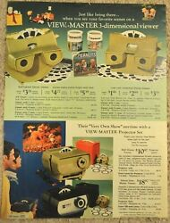1966 Sears Print Ad View Master Charlie Brown Snoopy Pennants Projector Bambi