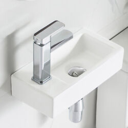Deervalley White Wall Mount Bathroom Sink Small Rectangle Ceramic Porcelain Sink
