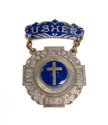 Antique 1800and039s Church Usher Badge Blue Glass Enamel Silver Pewter Vintage Cross