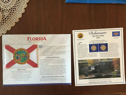The Great Seal Of The State Of Florida Flag Anddelaware The First State 1787 Stamp