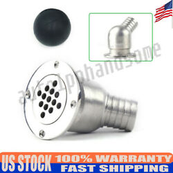 Stainless Steel Boat Deck Drain Scupper And Ball For Hose 1-1/2 Marine 316