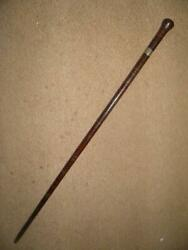 Victorian Silver One Shilling Coin Inse Leather Washer Walking Stick/cane.