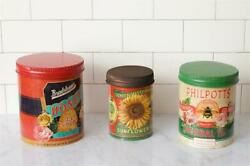 New Retro Vintage Garden Seed 3 Sunflower Honey Bee Tea Tin Canister Container