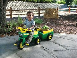Kids Ride On Pedal Tractor With Trailer John Deere Toys Indoor Outdoor Playing