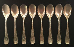 Set Of 8 A.f. Towle Sterling Silver Ice Cream Spoons Greenfield Pattern 1894