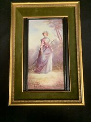 Hand Painted Porcelain Victorian Woman Signed Watteau Picture