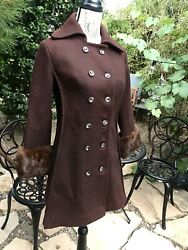 Vtg 40s 50s 60s Wool Coat  Mink Fur Collar Women's Small Swing Pinup
