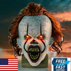 Led Pennywise Mask Stephen Kingand039s It Chapter Two 2 Cosplay Scary Joker Prop New