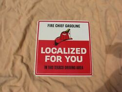 Original Old Fire Chief Gasoline Tin Service Station Sign