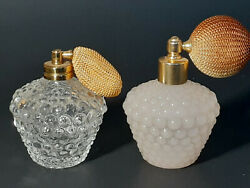 Vintage Hobnail Atomizer Spray Vanity Perfume Glass Bottles Opaque And Clear