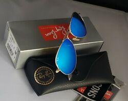 New Ray Ban Aviator Sunglasses RB3025 112 17 58mm Ice Blue Mirror Lens $72.90