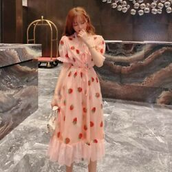 Lady Ruffle Lolita Mesh Midi Dress Cute Sequin Strawberry Embroidery Sweet Fairy $27.54