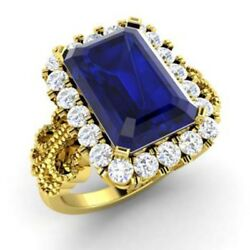 3.1 Ct Real Diamond Sapphire Gemstone Ring Solid 14k Yellow Gold Band Size 6 7 8