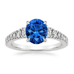 1.79 Ct Round Diamond Blue Sapphire Engagement Ring 14k White Gold Size N O P