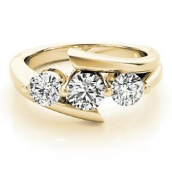 Sparkling 1.50 Ct Real Diamond Engagement Ring 18k Yellow Gold Ring Size L M N O