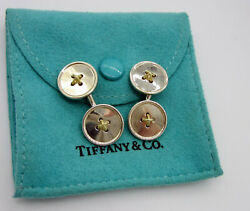 And Co Sterling Silver 18k Yellow Gold Double Button Cufflinks Cuff Links