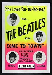 The Beatles Come To Town ✯ Cinemasterpieces Very Rare Original Movie Poster 1963
