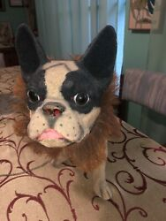 Old Paper Mache French Bulldog Pull Toy