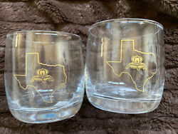 Crown Royal Special Edition Texas Whiskey Rocks Lowball Glasses Set Of 2 - Rare