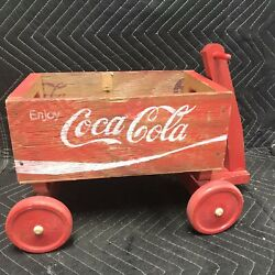 Cute Little Vintage Coca-cola Red Wood Crate Wagon Wooden Coke
