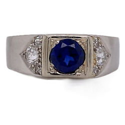 1940and039s Synthetic Sapphire Diamond Platinum Menand039s Gentand039s Vintage Band Ring