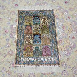 Yilong 2and039x3and039 Four Seasons Handknotted Silk Carpet Antistatic Garden Rug Ywx100a