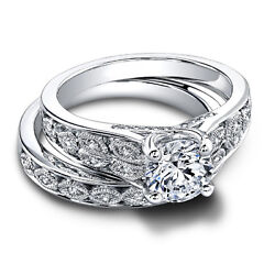 14k Solid White Gold Real Diamond Engagement Ring 0.92 Ct Wedding Band Sets