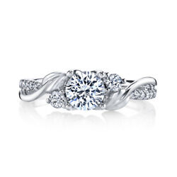 14k Solid White Gold Round Cut 0.74 Ct Real Diamond Engagement Ring Size 5 6.5 8