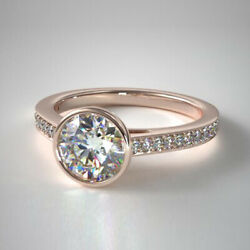 Real Diamond Engagement Rings Round Cut 0.70 Ct 14k Solid Rose Gold Size 5 6 7 8
