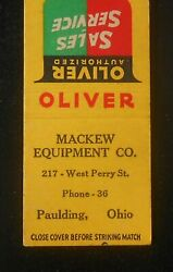 1940s Oliver Farm Machinery Mackew Equipment Co. Phone 36 West Perry Paulding Oh