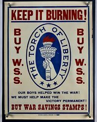 Statue Of Liberty Burning Torch World War 1 Poster Fine- 1918 Wwi 21x28 32z