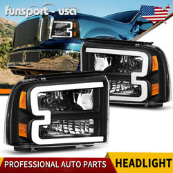 For 2005-2007 Ford F250 F350 F450 F550 Superduty Led Tube Black Headlights Lamps