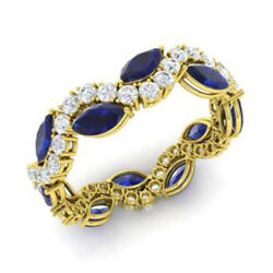 3.40 Ct Natural Diamond Gemstone Blue Sapphire Bands 14k Yellow Gold Ring Size 6